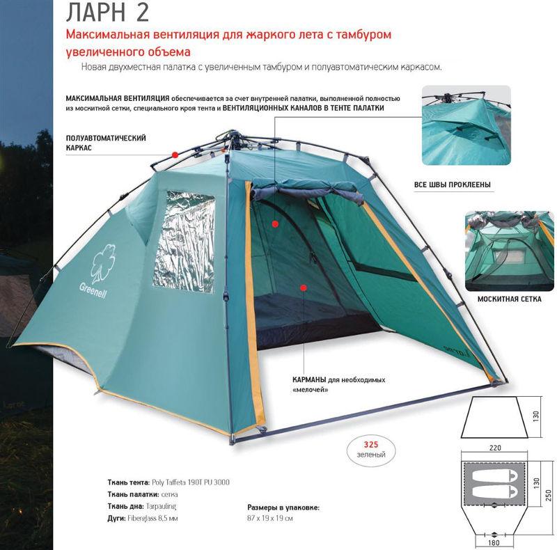 Палатки классические и походные Greenell 95466, Палатка туристическая