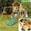 Jungle Gym Детский игровой комплекс Jungle Cottage + Swing Module Xtra + Rock Module