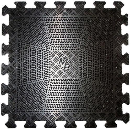 Аксессуары для тренажёров MB Barbell Коврик резиновый чёрный, 400х400х20 мм