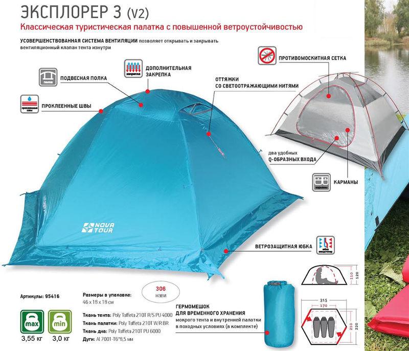 Палатки классические и походные Нова Тур (Nova Tour) 95416, Палатка туристическая дуговая