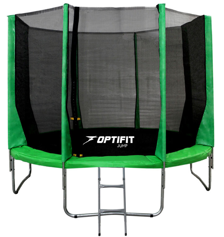 Батуты с защитной сеткой, диаметром от 3-х до 4-х метров OptiFit Батут Jump 12 футов (3,66 м), зеленый