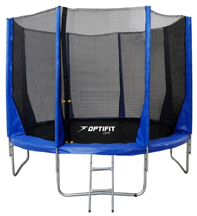 Батуты с защитной сеткой, диаметром от 3-х до 4-х метров OptiFit Батут Jump 10 футов (3,05 м), синий