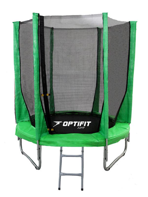 Батуты с защитной сеткой, диаметром до 3-х метров OptiFit Батут Jump 8 футов (2,44 м), зеленый