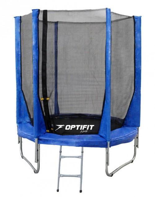 Батуты с защитной сеткой, диаметром до 3-х метров OptiFit Батут Jump 8 футов (2,44 м), синий