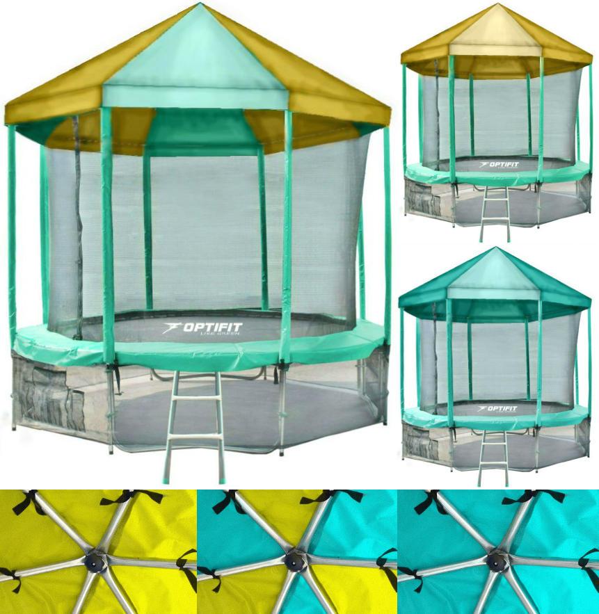 Батуты с защитной сеткой, диаметром от 3-х до 4-х метров OptiFit Батут Like Green 10 футов (3,05 метра) с крышей