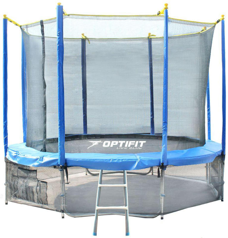 Батуты с защитной сеткой, диаметром от 3-х до 4-х метров OptiFit Батут Like Blue 12 футов (3,66 метра), синий