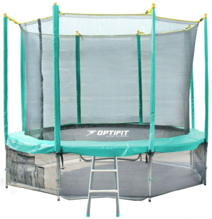 Батуты с защитной сеткой, диаметром от 3-х до 4-х метров OptiFit Батут Like Green 12 футов (3,66 метра), зелёный
