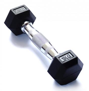 Гантельные ряды профессиональные, неразборные Original Fit.Tools Гантель гексагональная обрезиненная, хромированная ручка, 1 кг, FT-HEX-01