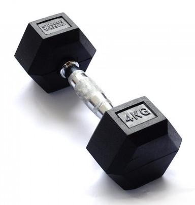 Гантельные ряды профессиональные, неразборные Original Fit.Tools Гантель гексагональная обрезиненная, хромированная ручка, 4 кг, FT-HEX-04