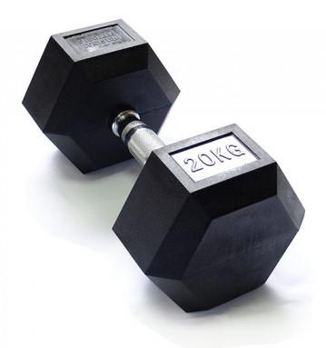 Гантельные ряды профессиональные, неразборные Original Fit.Tools Гантель гексагональная обрезиненная, хромированная ручка, 20 кг, FT-HEX-20