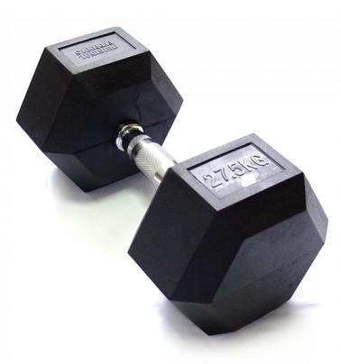 Гантельные ряды профессиональные, неразборные Original Fit.Tools Гантель гексагональная обрезиненная, хромированная ручка, 27.5 кг, FT-HEX-27.5