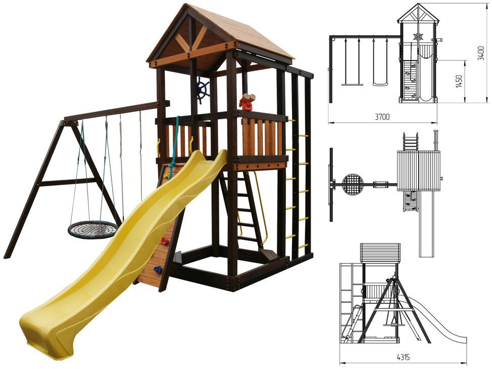 Деревянные спортивные комплексы и детские городки для установки на улице Perfetto Sport Игровой комплекс