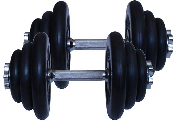Гантели разборные MB Barbell Комплект: Две разборные обрезиненные гантели по 19 кг (диски серии