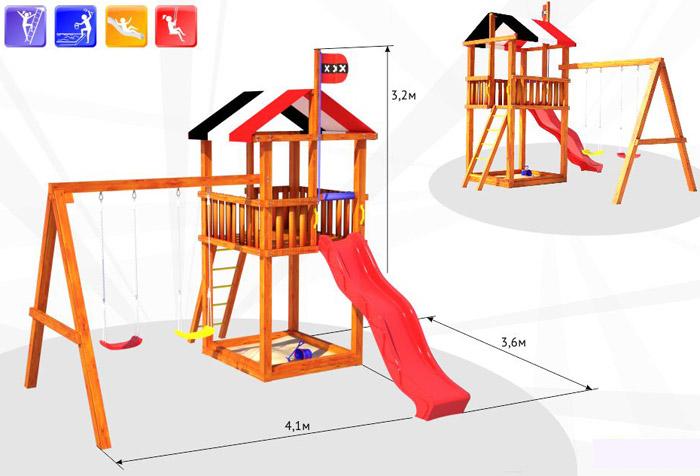 Деревянные спортивные комплексы и детские городки для установки на улице Самсон Детский игровой деревянный комплекс для улицы Амстердам