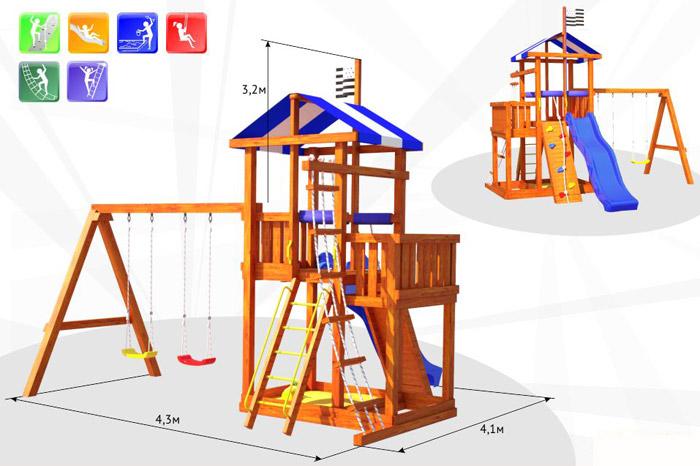 Деревянные спортивные комплексы и детские городки для установки на улице Самсон Детский игровой деревянный комплекс для улицы Бретань