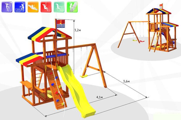 Деревянные спортивные комплексы и детские городки для установки на улице Самсон Детский игровой деревянный комплекс для улицы Кирибати