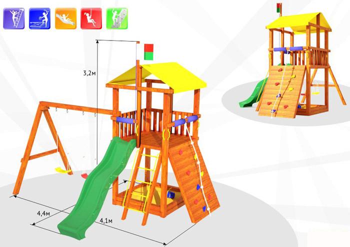 Деревянные спортивные комплексы и детские городки для установки на улице Самсон Детский игровой деревянный комплекс для улицы Мадагаскар