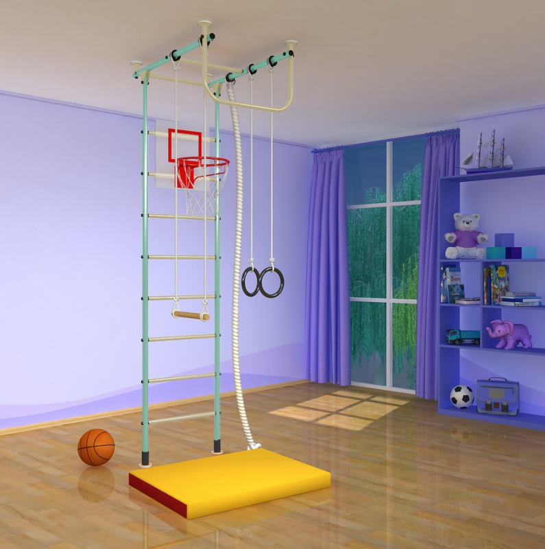 Г-образные комплексы (крепление враспор) Самсон Детский Спортивный Комплекс Самсон-2, Г-образный, с металлическими перекладинами (высота потолка от 2,4 до 2,9 м)