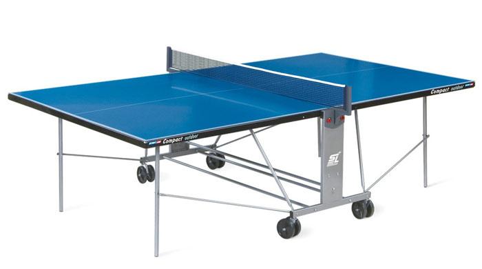 Всепогодные и влагостойкие теннисные столы Start Line 6044 ( 6043 ), Теннисный стол всепогодный Compact Outdoor-2 LX с сеткой (синий)