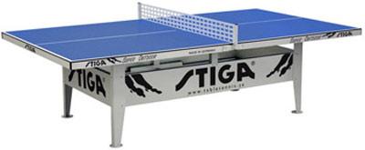 Всепогодные и влагостойкие теннисные столы Stiga 7177-05, Теннисный стол антивандальный всепогодный Супер Аутдор (Super Outdoor) с сеткой (синий)