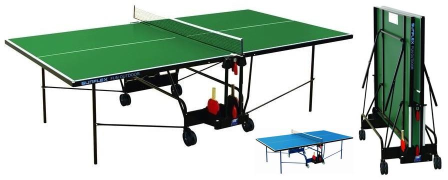 Всепогодные и влагостойкие теннисные столы SunFlex Стол для настольного тенниса всепогодный Аутдор Фан (Outdoor Fun) 4 мм, 222.7010 - синий / 222.5030 - зеленый