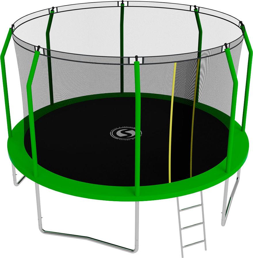 Батуты с защитной сеткой, диаметром от 3-х до 4-х метров Swollen Батут Comfort 12 футов (366 см), зелёный