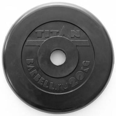 Блины для штанг и гантелей, стандарт 50-51 мм (олимпийский) Титан (Titan) Диск обрезиненный чёрный 20 кг (51 мм)