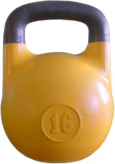 Гири Уральская гиря Гиря 16 кг для соревнований ВФГС, жёлтая