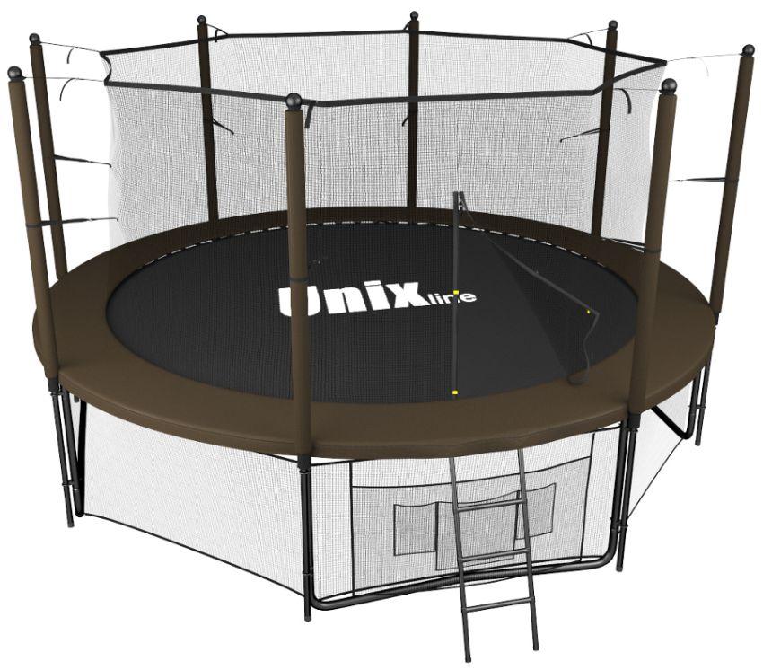 Батуты с защитной сеткой, диаметром до 10 футов (305 см) Unix Батут Unix Line 10 футов Inside, серия Black&Brown