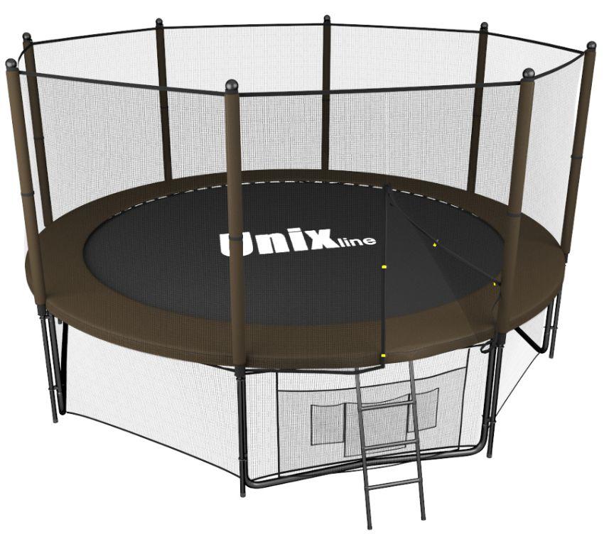 Батуты с защитной сеткой, диаметром до 10 футов (305 см) Unix Батут Unix Line 10 футов Outside, серия Black&Brown