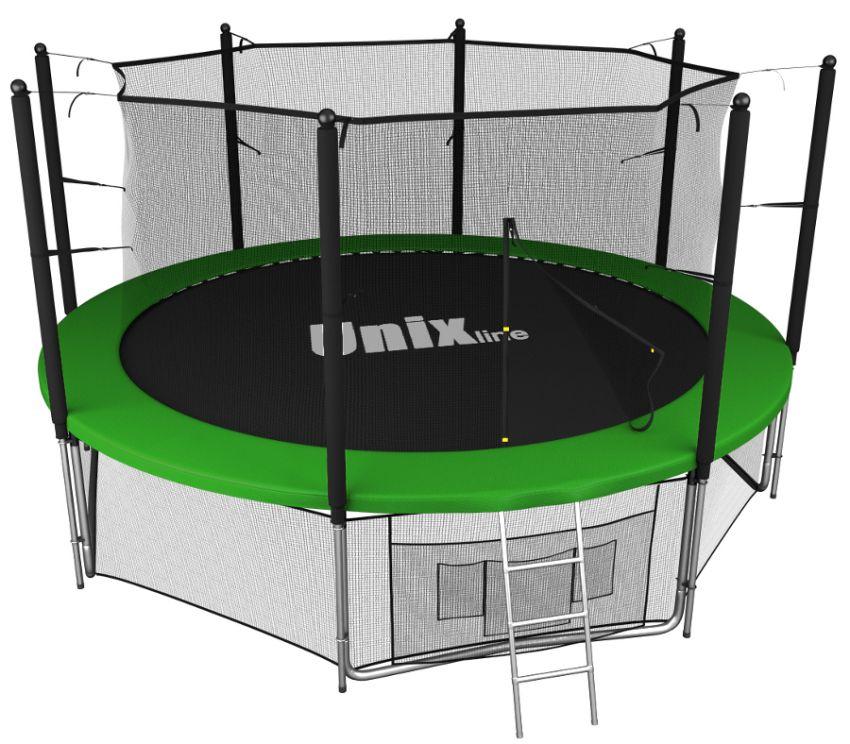 Батуты с защитной сеткой, диаметром от 12 футов (366 см) Unix Батут Unix Line 14 футов Inside (с внутренней защитной сетью) Green (зелёный)