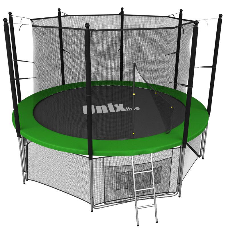 Батуты с защитной сеткой, диаметром до 3-х метров Unix Батут Unix Line 6 футов Inside (с внутренней защитной сетью) Green (зелёный)
