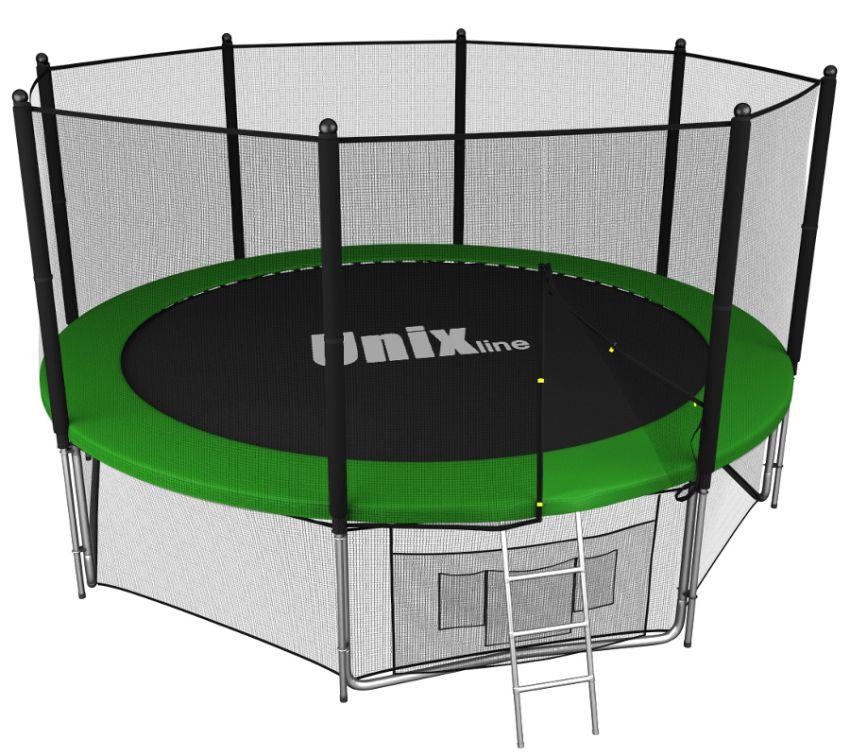 Батуты с защитной сеткой, диаметром до 10 футов (305 см) Unix Батут Unix Line 10 футов Outside (с внешней защитной сетью) Green (зелёный)