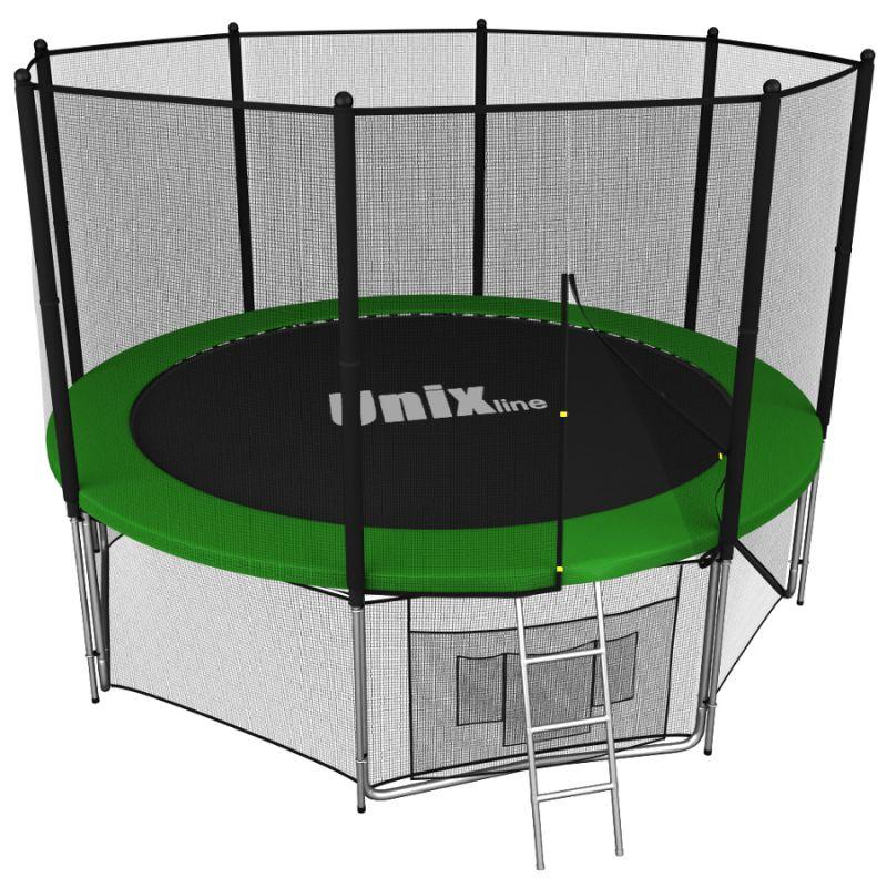 Батуты с защитной сеткой, диаметром до 10 футов (305 см) Unix Батут Unix Line 8 футов Outside (с внешней защитной сетью) Green (зелёный)