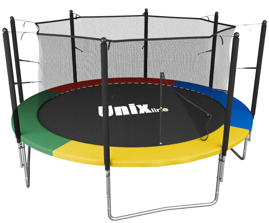 Батуты с защитной сеткой, диаметром от 3-х до 4-х метров Unix Батут Unix Line Simple 10 футов Inside (с внутренней защитной сетью) Color (разноцветный)