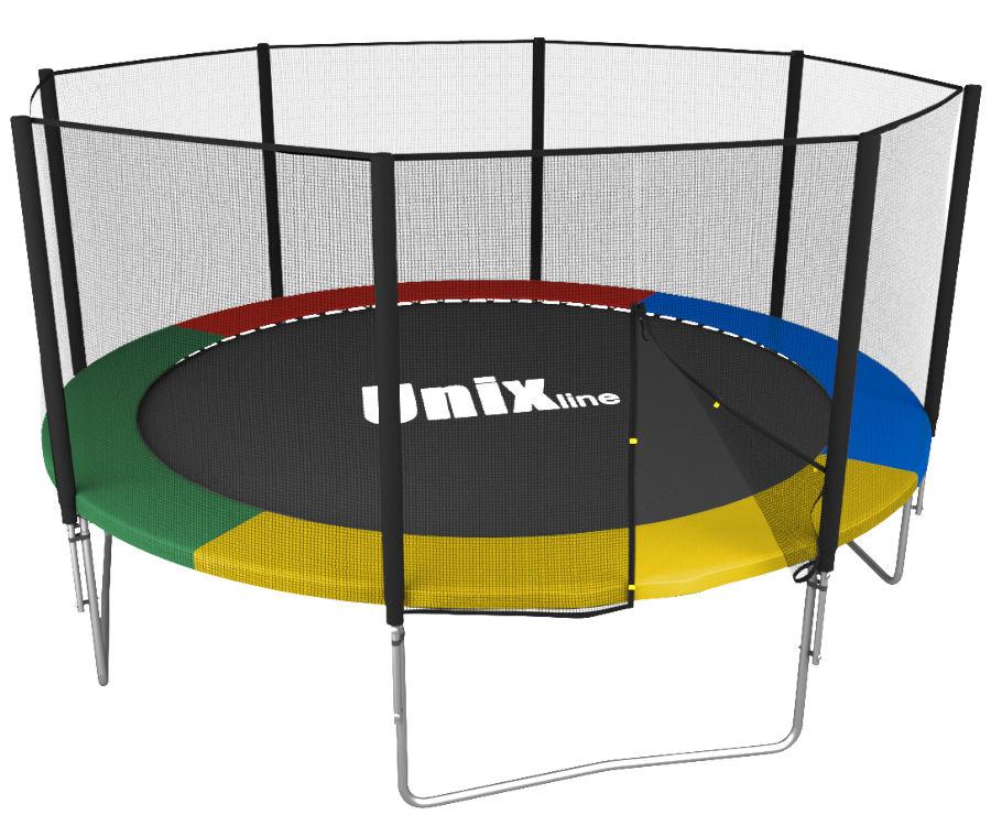 Батуты с защитной сеткой, диаметром от 3-х до 4-х метров Unix Батут Unix Line Simple 12 футов Outside (с внешней защитной сетью) Color (разноцветный)