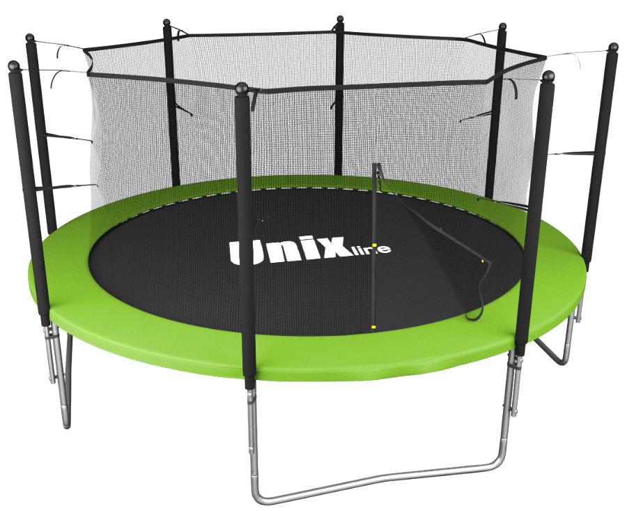 Батуты с защитной сеткой, диаметром от 3-х до 4-х метров Unix Батут Unix Line Simple 12 футов Inside (с внутренней защитной сетью) Green (зелёный)