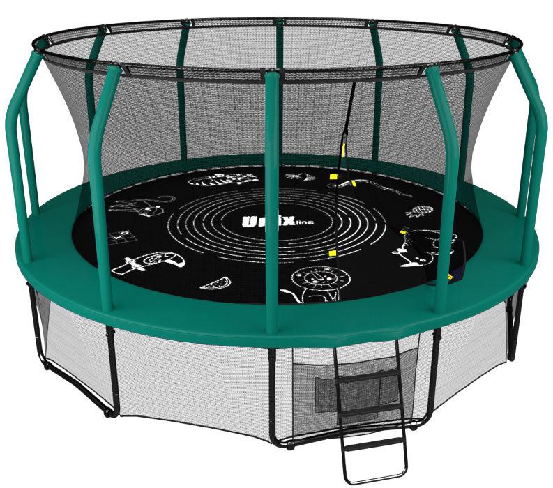 Батуты с защитной сеткой, диаметром от 12 футов (366 см) Unix Батут Unix Line 14 футов green (зелёный), серия Supreme