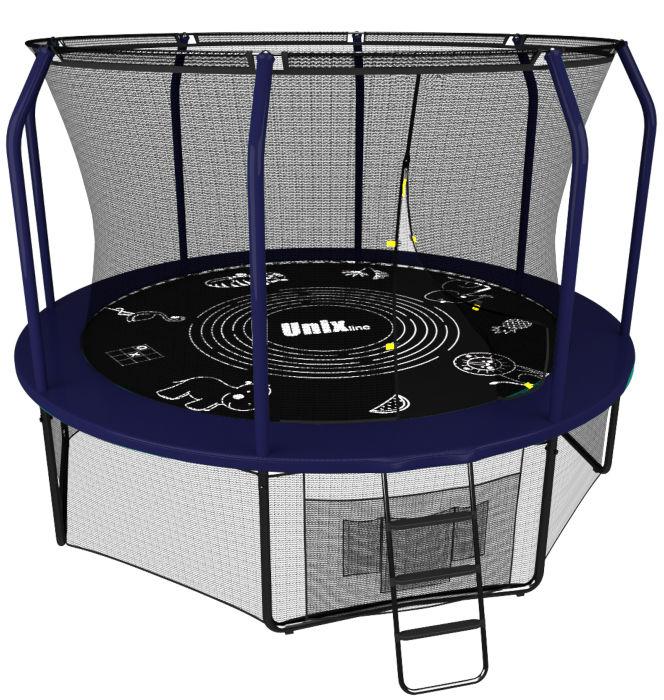 Батуты с защитной сеткой, диаметром до 10 футов (305 см) Unix Батут Unix Line 10 футов blue (синий), серия Supreme