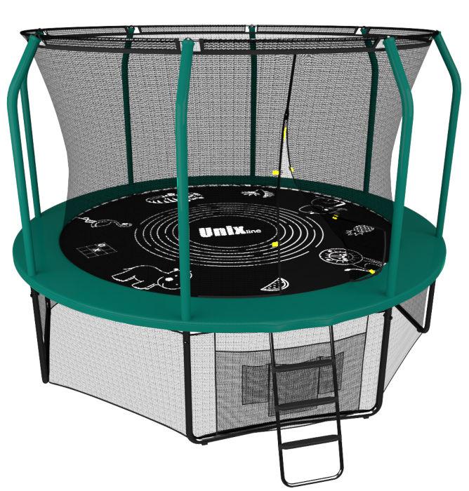 Батуты с защитной сеткой, диаметром до 10 футов (305 см) Unix Батут Unix Line 10 футов green (зелёный), серия Supreme