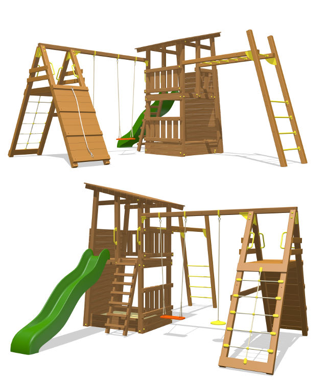 Деревянные спортивные комплексы и детские городки для установки на улице Вивана ДК-4, Детский игровой комплекс