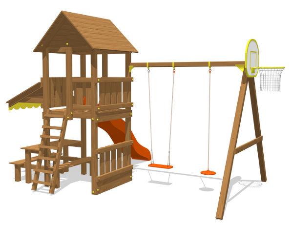 Деревянные спортивные комплексы и детские городки для установки на улице Вивана ДК-6, Детский игровой комплекс
