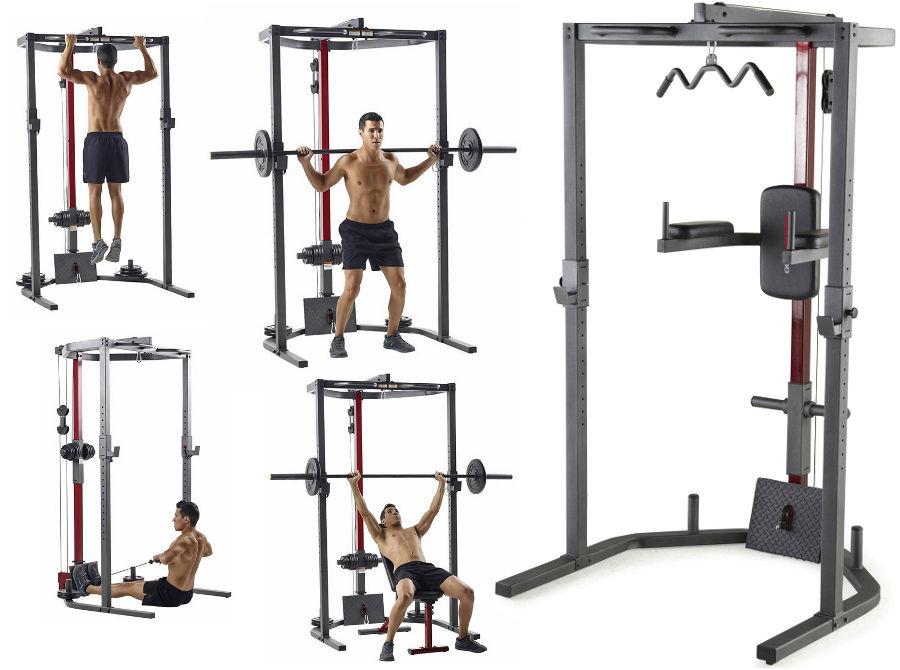Скамьи, стойки и атлетические центры со свободной нагрузкой Weider Многофункциональный силовой тренажер Pro Power Rack, 14933
